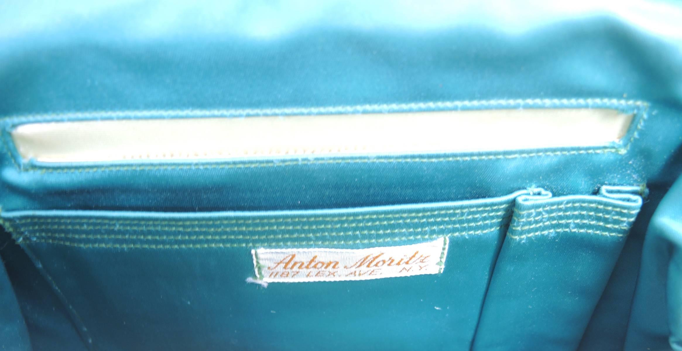 15cbdc9e7dca Vintage Anton Moritz Cream Color and Faux Turquoise Stone Snakeskin Hand Bag  For Sale at 1stdibs
