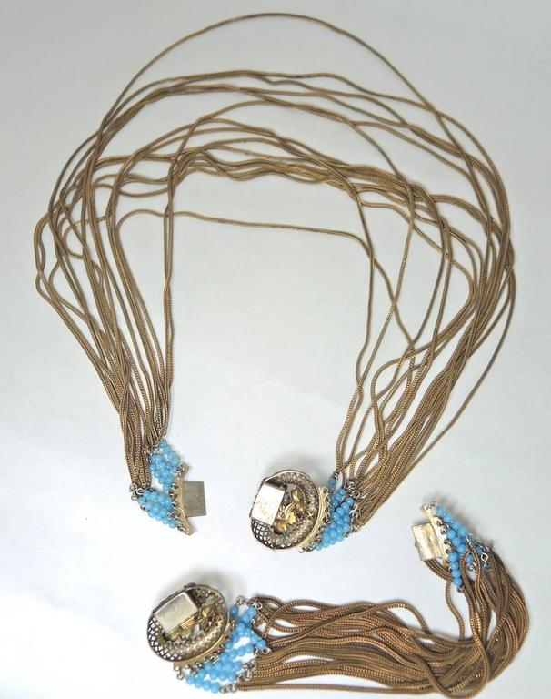Victorian Fringed Faux Turquoise And Faux Pearl Necklace Set In Excellent Condition For Sale In New York, NY