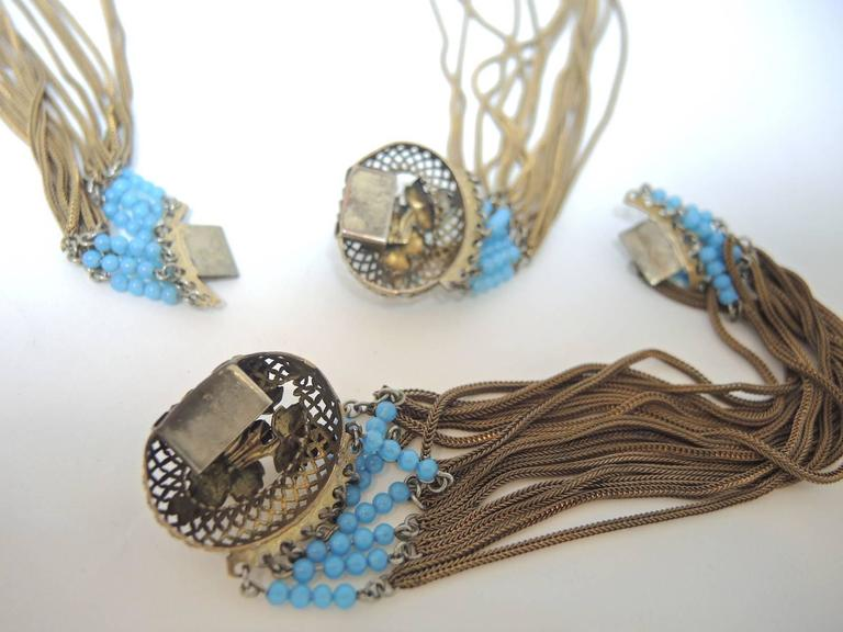Women's Victorian Fringed Faux Turquoise And Faux Pearl Necklace Set For Sale