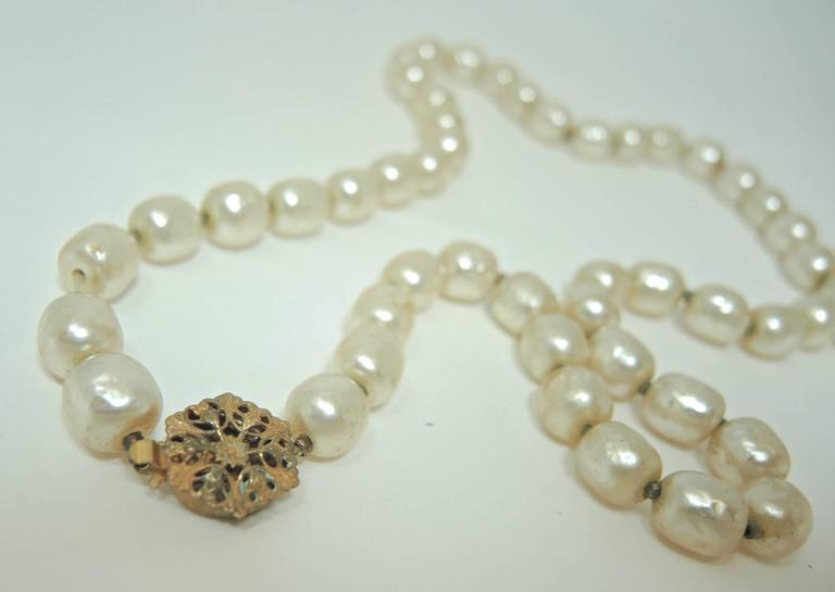 Signed 1950s Miriam Haskell Single Strand Faux Pearl Necklace 3