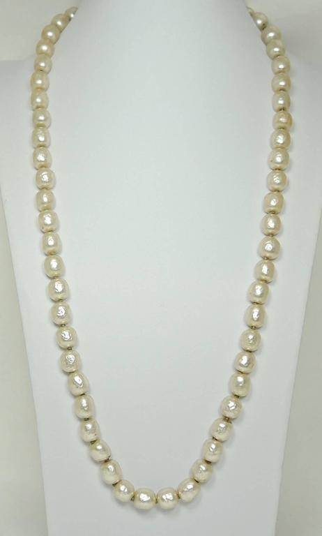 Signed 1950s Miriam Haskell Single Strand Faux Pearl Necklace 2