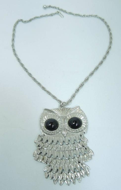 Vintage 1960s signed goldette owl pendant necklace at 1stdibs this is a sweet articulated owl pendant necklace that has black glass stones for eyes aloadofball Image collections