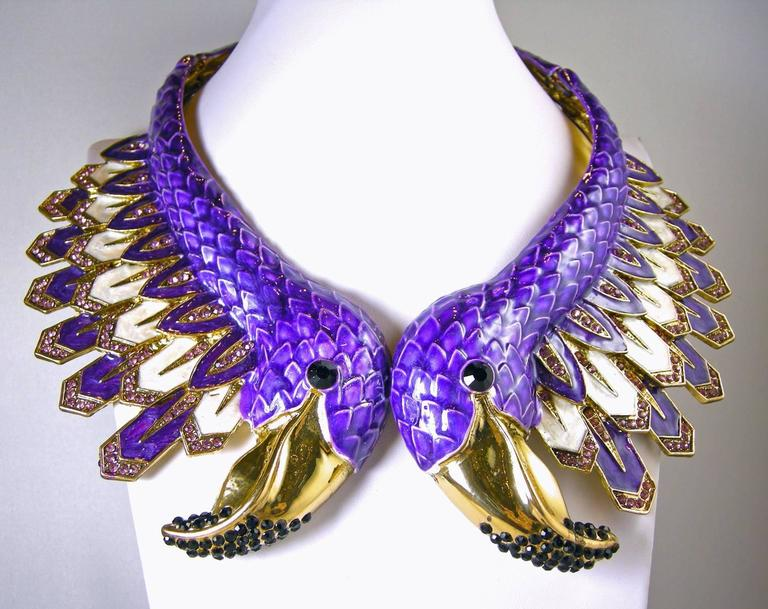 Huge Purple Pelican Bird Collar Christian La Croix Necklace? In Excellent Condition For Sale In New York, NY