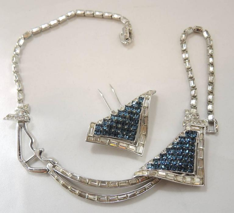Marcel Boucher Vintage Faux Sapphire Duette Necklace, 1950s  For Sale 1