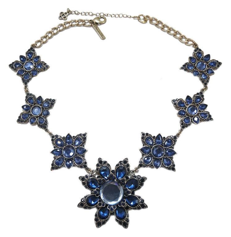 Signed Oscar De La Renta Blue Snowflake Rhinestone Necklace For Sale