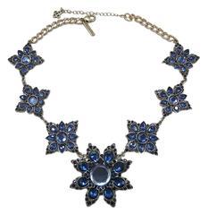 Signed Oscar De La Renta Blue Snowflake Rhinestone Necklace