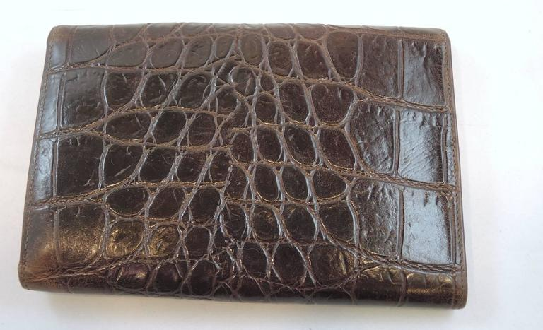 Vintage Gianni Versace Brown Crocodile Embossed Leather