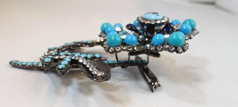 Lawrence Vrba Large Crystal and Turquoise 3D Floral Brooch  In Excellent Condition For Sale In New York, NY