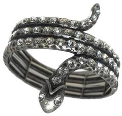 Snake Serpent and Crystal Accent Bracelet