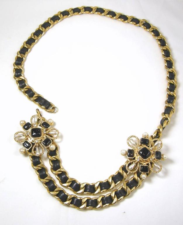 Women's Vintage Couture Chanel Leather Ribbon Gripoix Floral Necklace For Sale