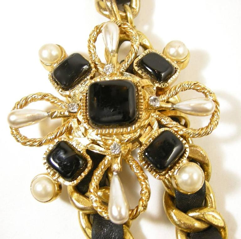 Vintage Couture Chanel Leather Ribbon Gripoix Floral Necklace For Sale 1