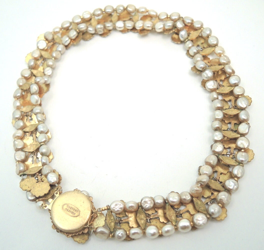 vintage signed miriam haskell faux pearl necklace at 1stdibs