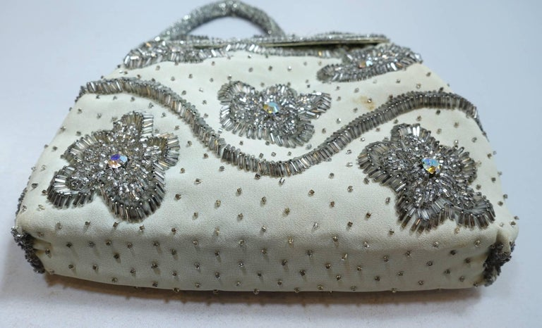 Gray Vintage 1960s Hand Made Beaded Hand Bag For Sale