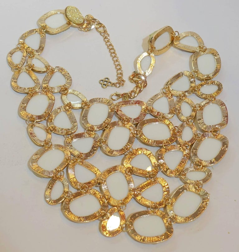 Women's Oscar De La Renta Crystallized Disk Bib Necklace For Sale