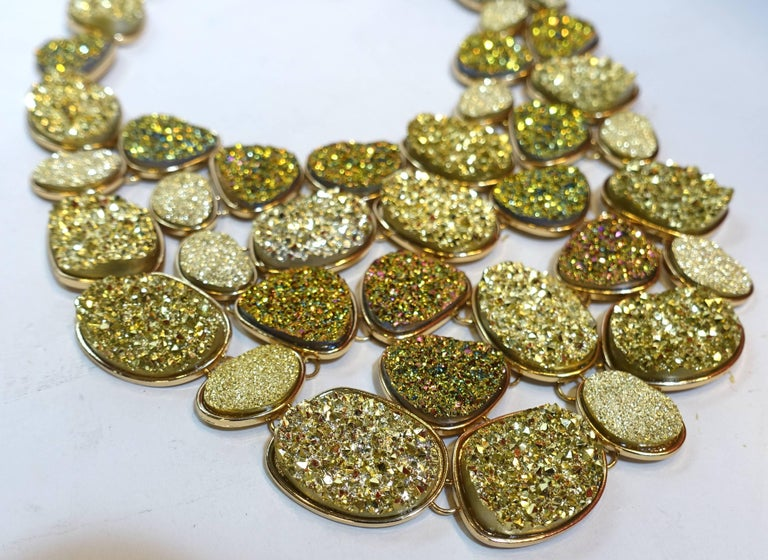 Oscar De La Renta Crystallized Disk Bib Necklace In Excellent Condition For Sale In New York, NY