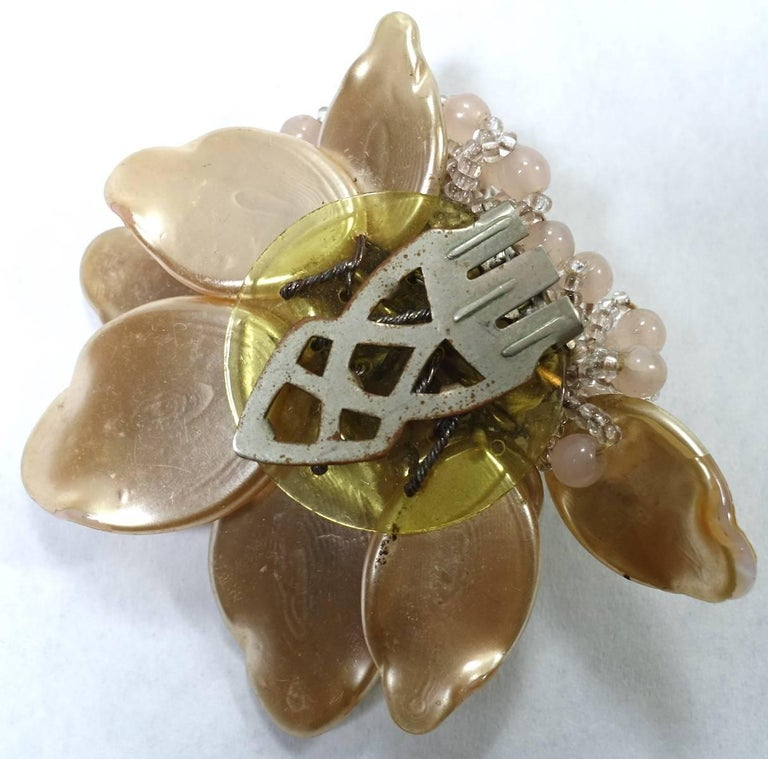 Women's Miriam Haskell Early 1930s Vintage Floral Design Fur Clip Brooch For Sale