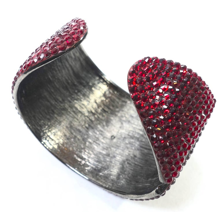 dazzling kenneth jay lane red rhinestone cuff bracelet at 1stdibs