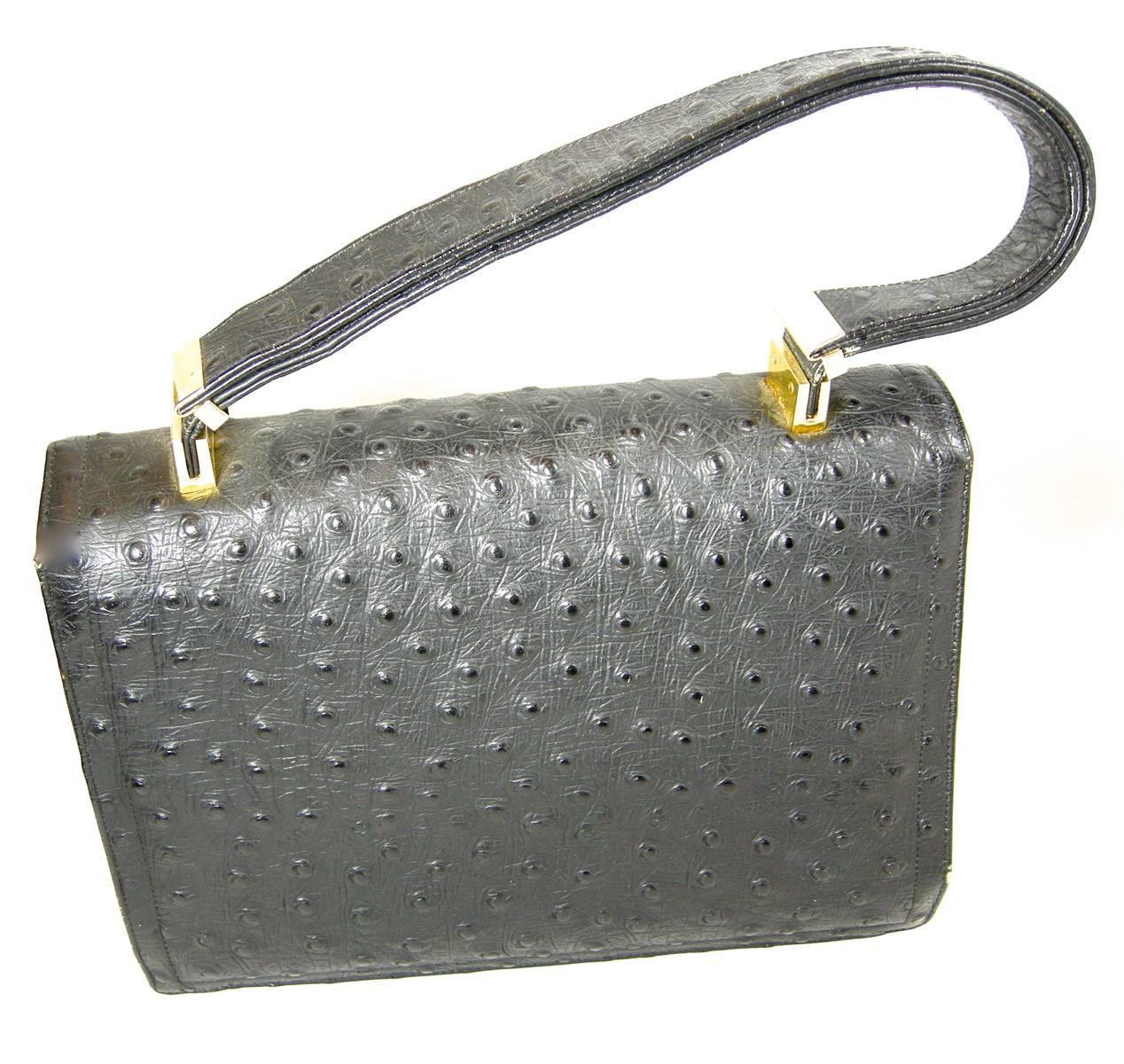 1stdibs Vintage Rare Black Koret Genuine Full Quill Ostrich Handbag XeOn2jNc