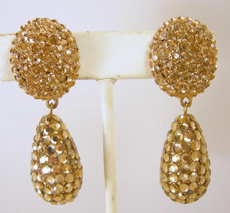 Women's Vintage 60s Gold Tone Rhinestone Drop Earrings For Sale