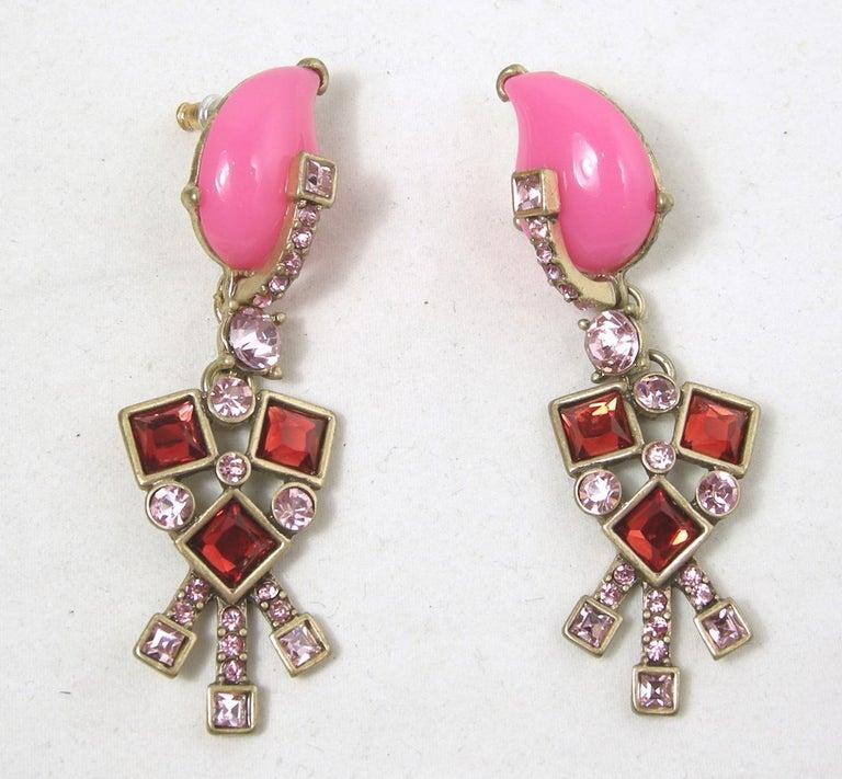 a106adb4ff286 Signed Oscar de la Renta Hot Pink/Red Dangling Pierced Earrings
