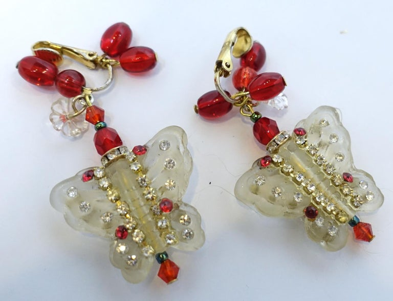 Women's Vintage 1950s Lucite & Crystals Butterfly Drop Earri For Sale