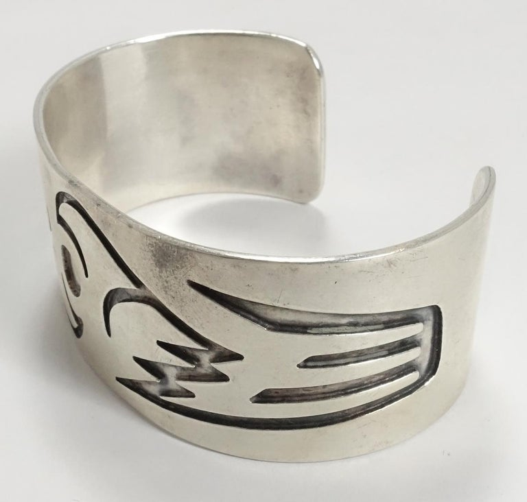 Vintage Hopi American Indian Sterling Silver Cuff Bracelet For Sale