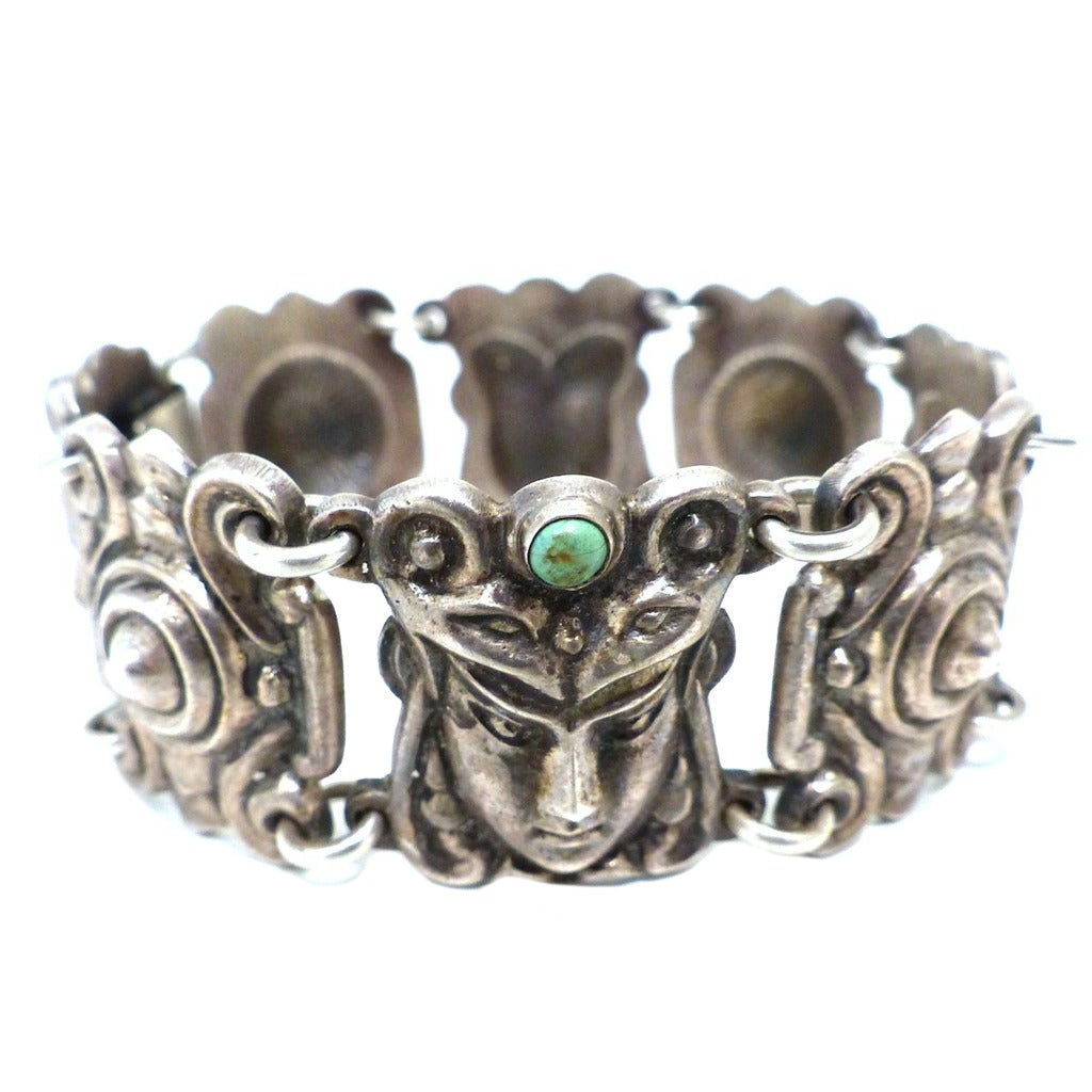 vintage signed mexico turquoise and silver faces bracelet