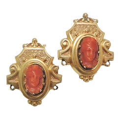Victorian Coral 18kt Gold Cameo Earrings