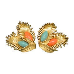 Vintage  Oscar de la Renta Faux Coral & Turquoise Earrings