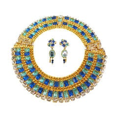 One-of-a-kind Robert Sorrell Blue, Green, Clear Rhinestone Necklace & Earrings
