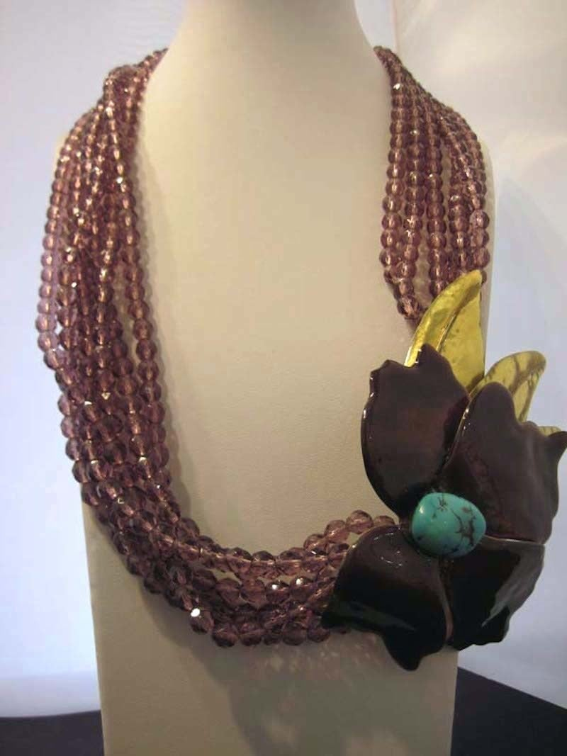 Large Vintage Floral Multi-6-Strand Faux Turquoise & Amethyst Crystal Necklace 7