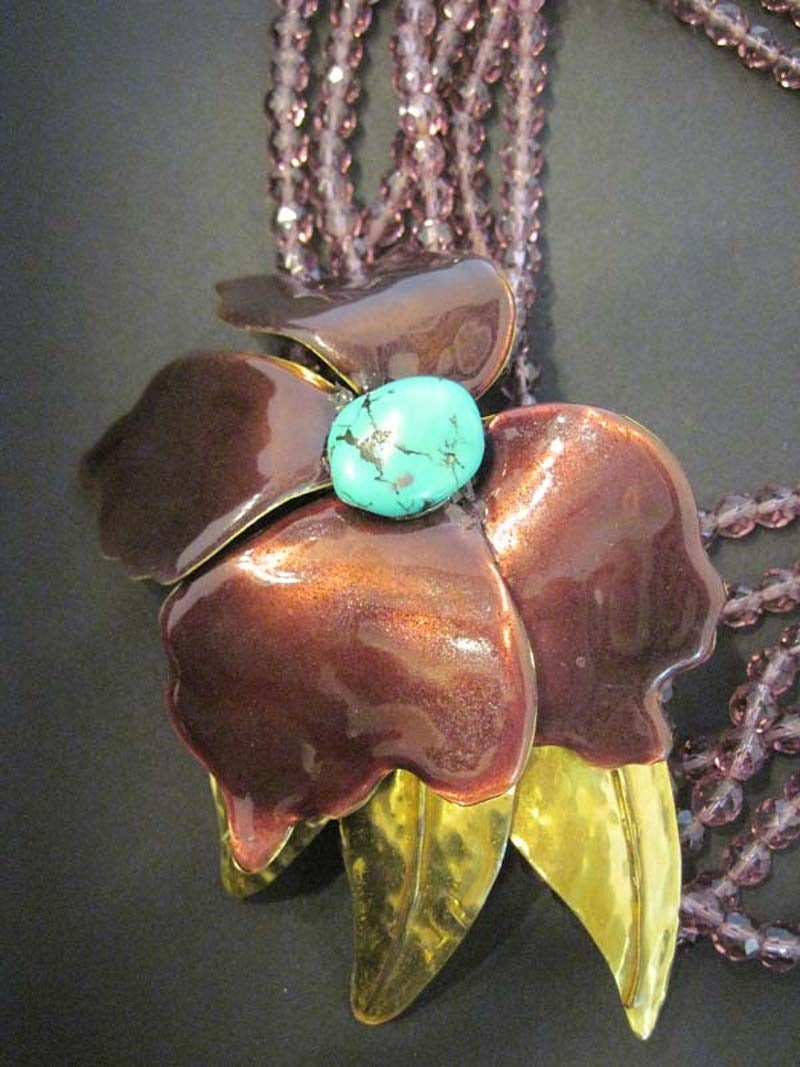 Large Vintage Floral Multi-6-Strand Faux Turquoise & Amethyst Crystal Necklace 4