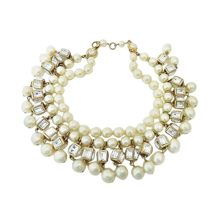 Vintage Signed Chanel 23 Multi-Strand Faux Pearl Necklace For Sale