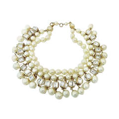 Vintage Signed Chanel 23 Multi-Strand Faux Pearl Necklace