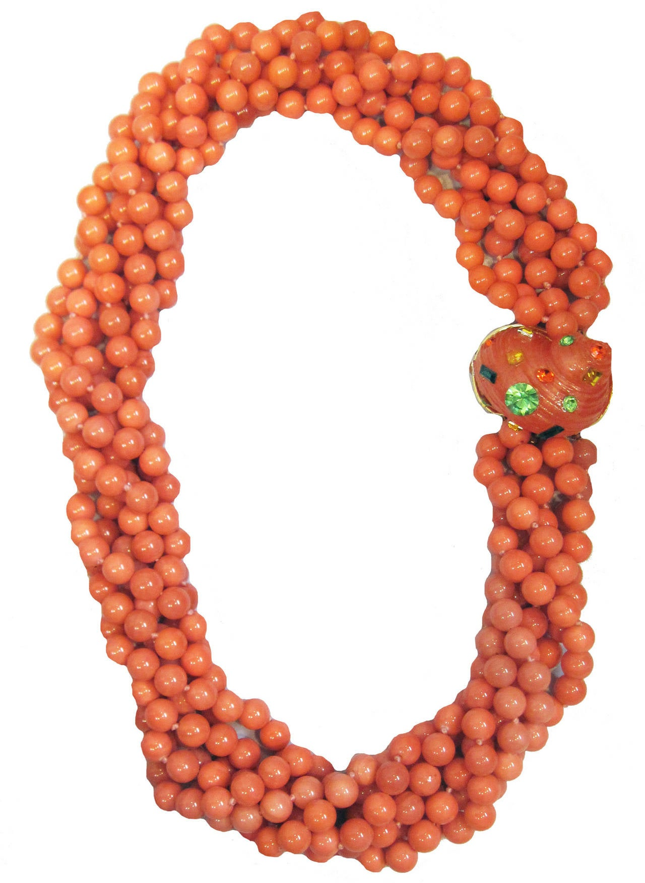 KJL Vintage 6-strands of coral glass necklace with sea shell clasp 2