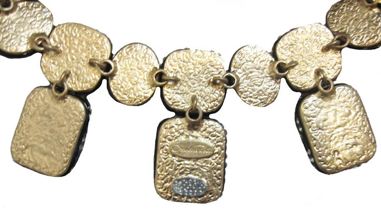 Women's Oscar de la Renta Black Enamel & Clear Rhinestone Necklace For Sale