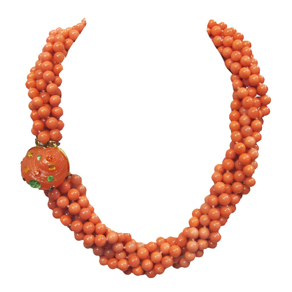 KJL Vintage 6-strands of coral glass necklace with sea shell clasp 1