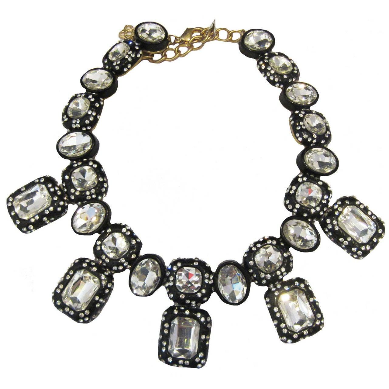 Oscar de la Renta Black Enamel & Clear Rhinestone Necklace For Sale