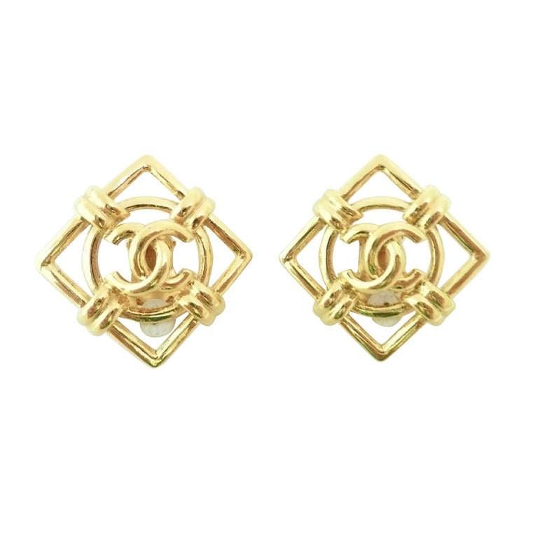 vintage 1970 s signed chanel 29 logo earrings at 1stdibs