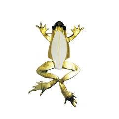 KJL gold and white enamel frog brooch