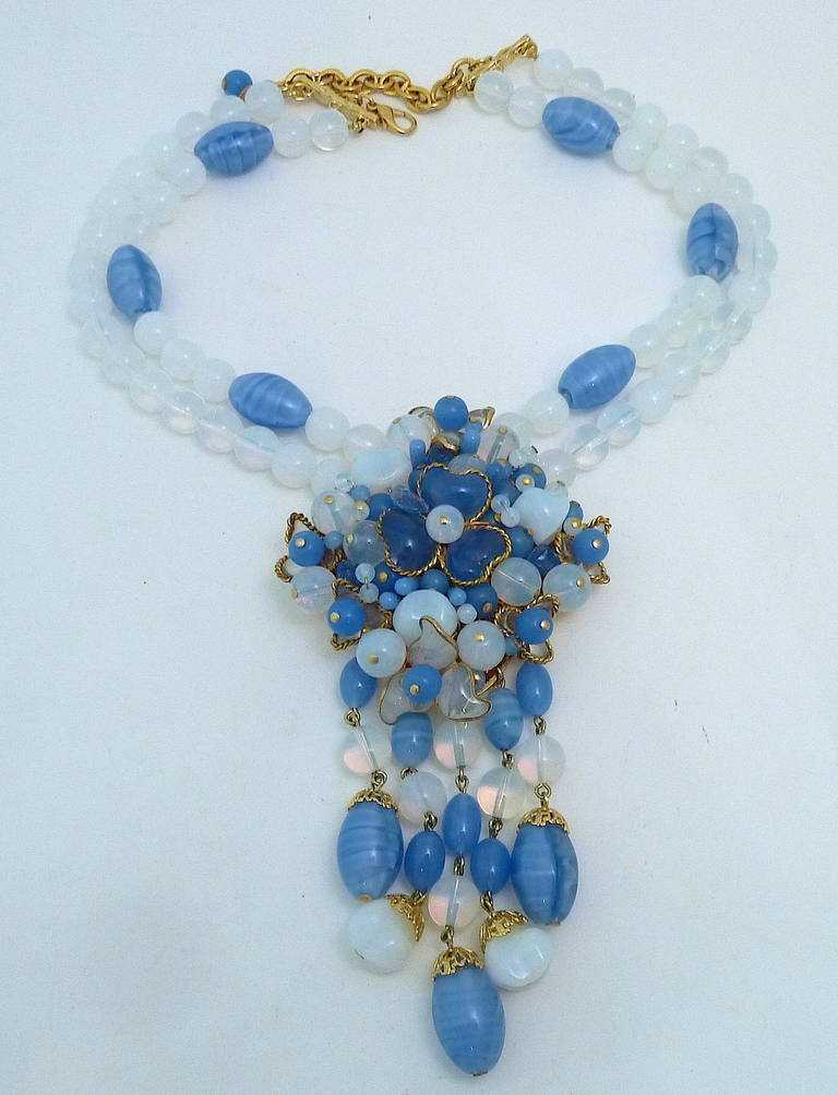 Rare Gripoix Glass 2-Strand Pendant Necklace 2