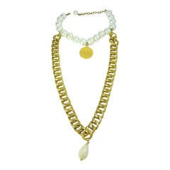 Vintage Chanel 1980s Outstanding Chain and Pearl Necklace