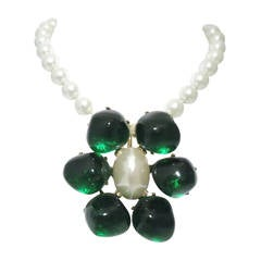 Signed Kenneth J. Lane Faux Pearl & Green Pendant Necklace