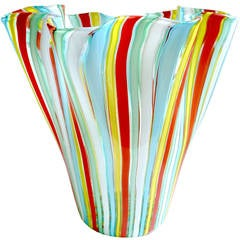 Fratelli Toso Murano Rainbow Filigrana Ribbons Italian Art Glass Flower Vase