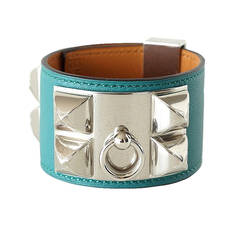 Hermes Bracelet CDC Collier de Chien Cuff Malachite Palladium