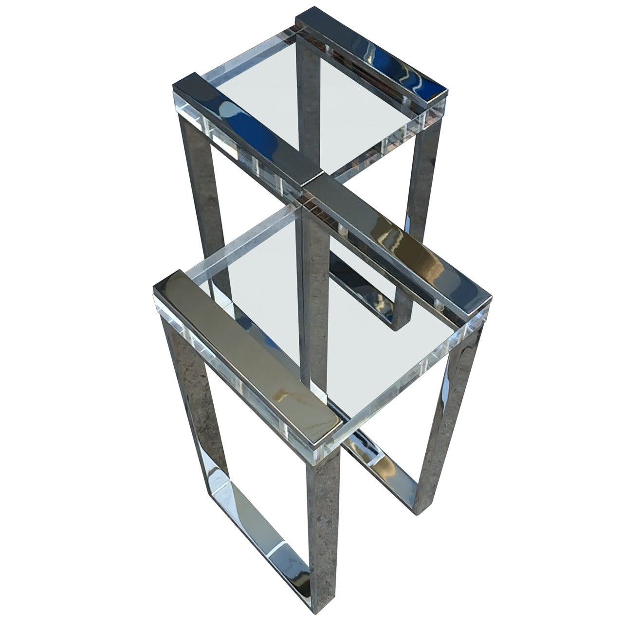 """Pair of Charles Hollis Jones """"Box"""" Line Side Tables in Lucite and Nickel"""