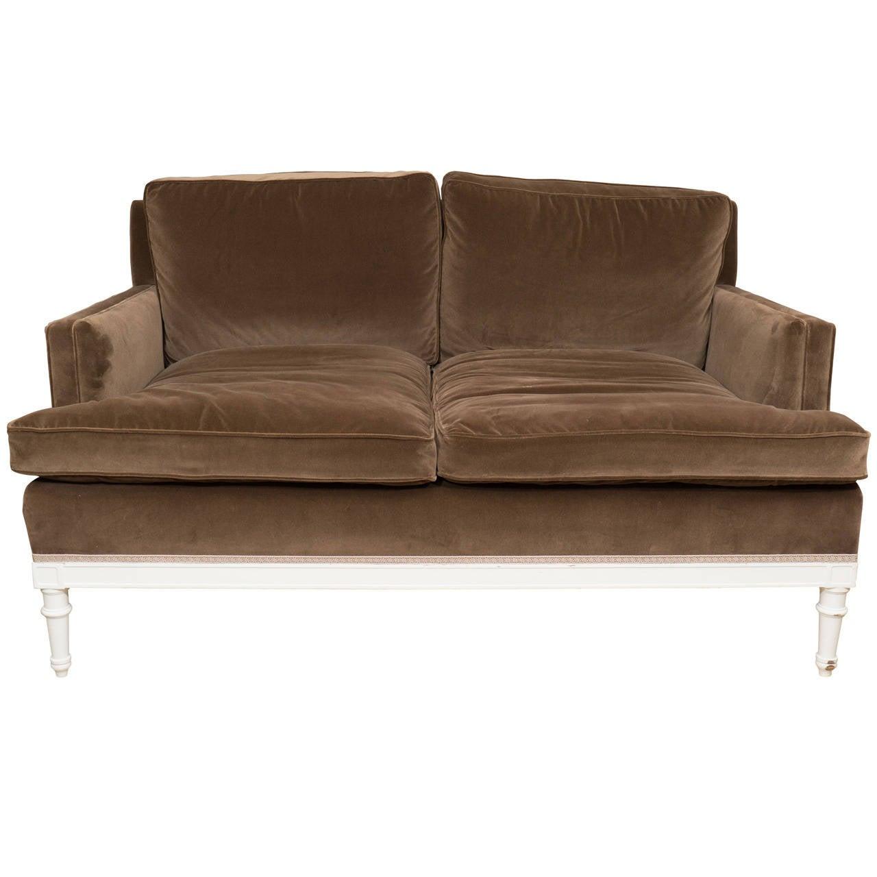 Jansen Style Loveseat Upholstered In Chocolate Brown Cotton Velvet At 1stdibs