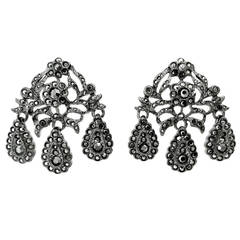 Signed Dramatic Kenneth J. Lane Crystal Pierced Earrings