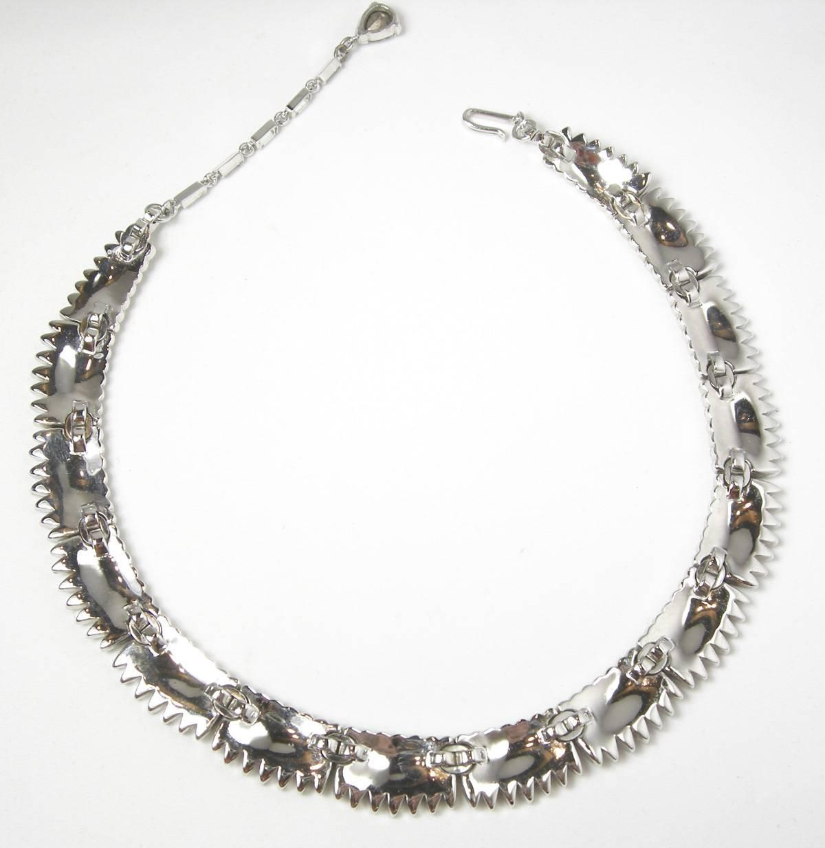 vintage signed trifari clear rhinestone necklace at 1stdibs