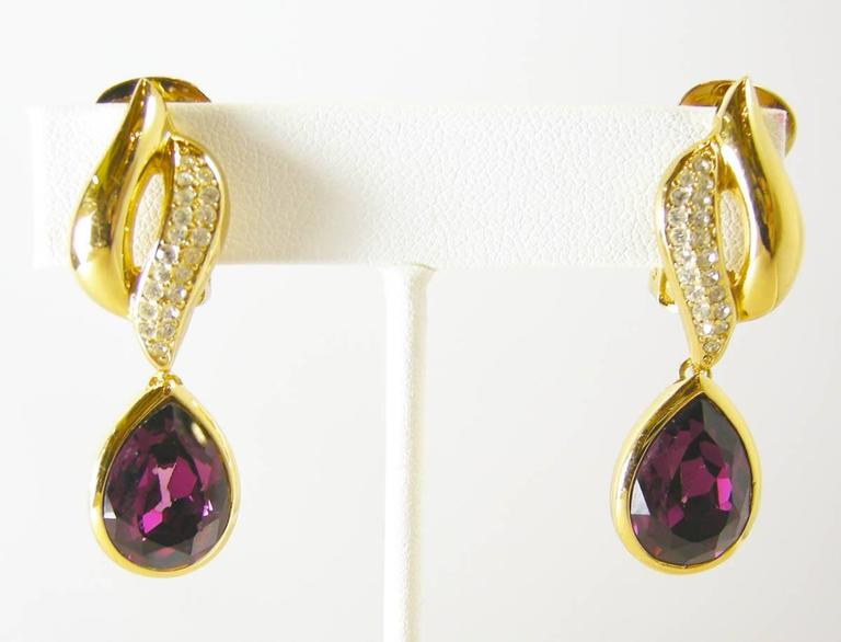 Vintage Dior Amethyst Crystal Earrings In Excellent Condition For New York Ny